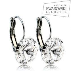 Ocelové náušnice RIVOLI 12 mm, SWAROVSKI Elements, Crystal ASW01