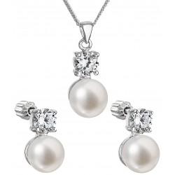 Stříbrný set s pravými perlami a zirkony: náušnice+náhrdelník AG3101