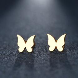 Zlacené ocelové náušnice Motýlek P0114G
