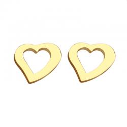 Zlacené ocelové náušnice Srdíčko P0116G