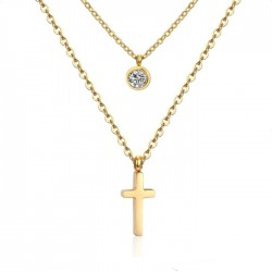 Dvojitý zlacený náhrdelník s křížkem a zirkonem AD0030G chirurgická ocel