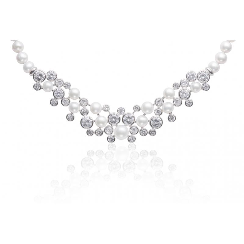 Stříbrný perlový náhrdelník se zirkony Gaura Pearls FN21-1