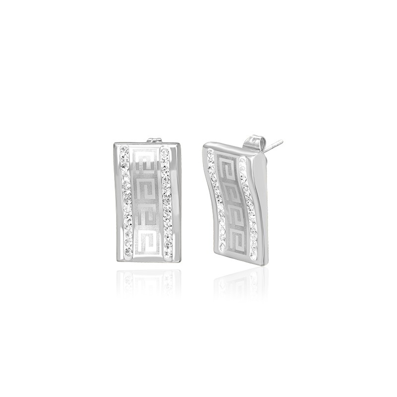 ae097d8e6 Luxusné oceľové náušnice zdobené čírymi kamienkami, uprostred s gréckym  vzorom.