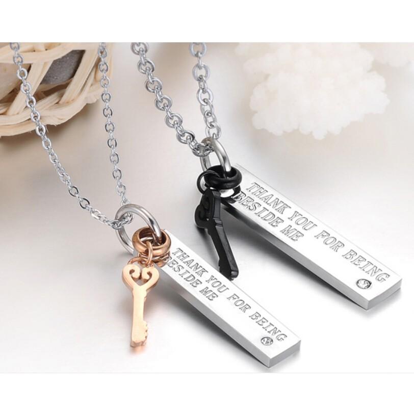 Partnerské řetízky s přívěsky Klíčky - 2 kusy Y1004 chirurgická ocel