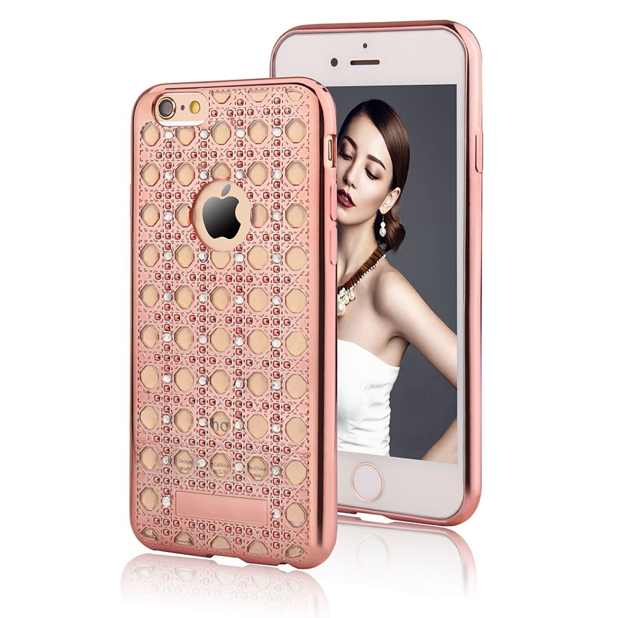 Pouzdro/ kryt pro Apple iPhone 6 6S/ TPU Rose Gold Crystal